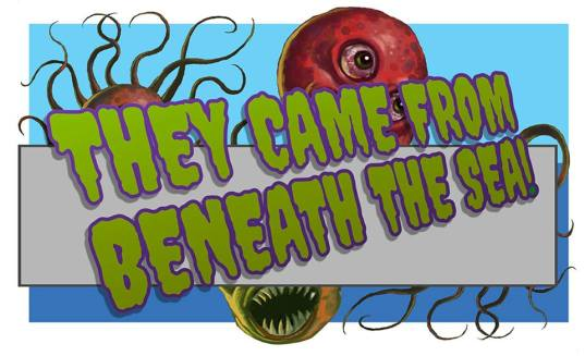 They Came From Beneath The Sea Graphik im Pulp-Genre-Stil mit Schriftzug