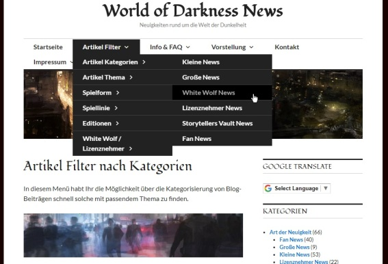 Screenshot des Artikel Filter Menü
