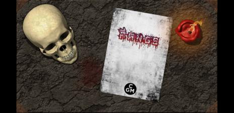 Fangs von Chaosmeister Games (minimald6 system) Artikel Cover [von Rechts nach Links: Schädel, Buchcover, entzündete Kerze auf Steinuntergrund; CGI-Stil]