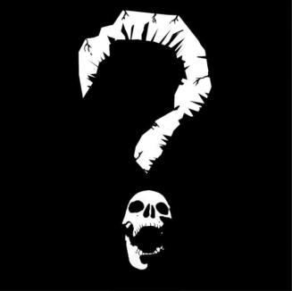 Das Logo des The NightIn Question White Wolf LARP Events von Jackalope Studios. Es ist ein Fragezeichen bei dem der Bogen wie ein brüchiger Haken aussieht und der Punkt ein Schädel mit aufgerissenen Kiefer ist.