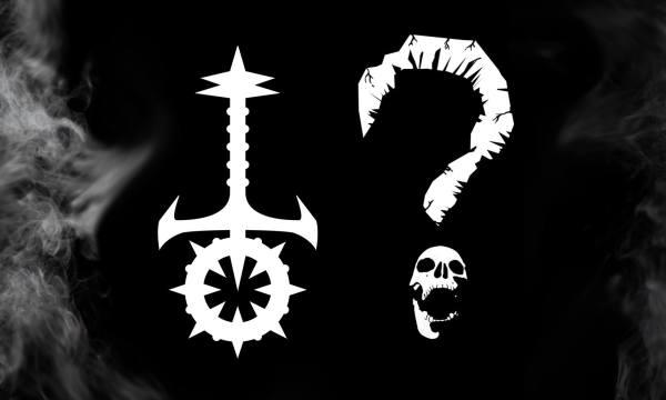 LARP The Night In Question Zweites Logo (der Facebook Gruppe). Es zeigt das Sabbat Symbol neben einem Fragezeichen. Bei dem Fragezeichen ist der Punkt ein Schädel mit aufgerissenen Mund.