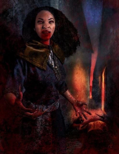 Ulisses Spiele - Illustration zur Ankündigung via Facebook (Vampir mit Klauen in mittelalterlichen Gemäuer)