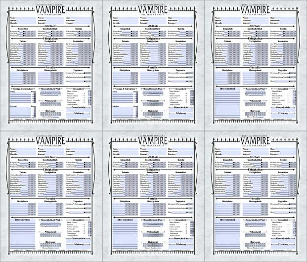Collage der 6 von Andreas G Schramm übersetzten Charakterbögen für die V20