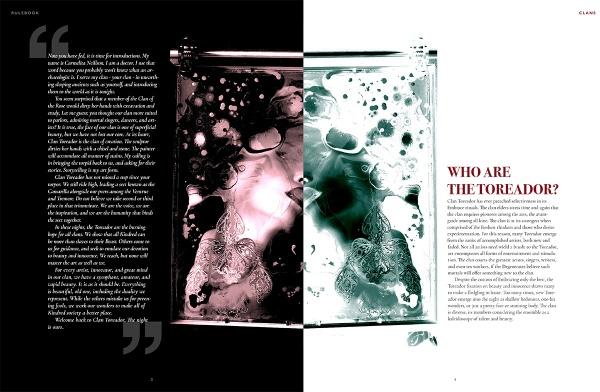 Ein erster, früher Entwurf (Spread) für Vampire: The Masquerade 5th Edition Graphic Design von Free League.