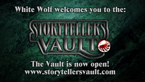 "Storytellers Vault Eröffnungsgraphik: ""White Wolf heißt Dich im Storytellers Vault willkommen!"""