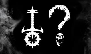 The Night in Question - Graue Flammen mit Sabbat Logo und Fragezeichen mit Schädel