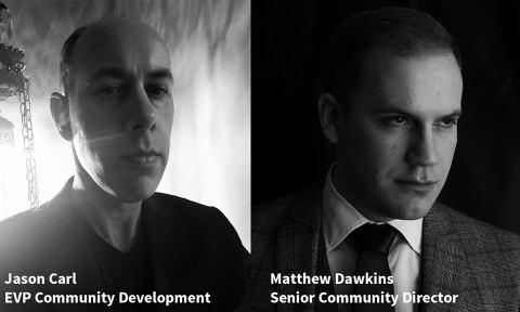White Wolf - Community Ankündigung - Jason Carl, EVP Community Development (links), Matthew Dawkins, Senior Community Director(rechts)