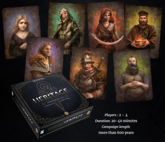 Nice Games - Vampire: The Masquerade Heritage - Artworks der 7 Clans, Box-Mockup und Kurzbeschreibung