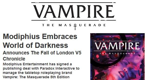 Modiphius nimmt sich der 5. Edition von Vampire: The Masqueradean!