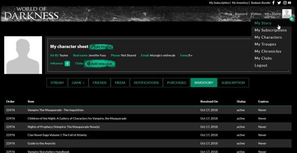 WorldOfDarkness.com - Inventoryseite