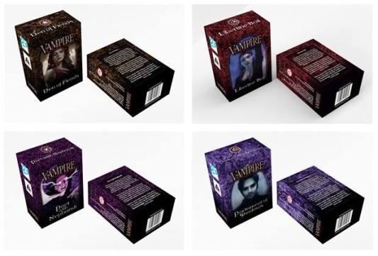 V:TES - Neue Starter Decks - Mockups der 4 Kartensets: Dens of Fiends, Libertine Ball, Pact with Nephandi, Parliament of Shadows