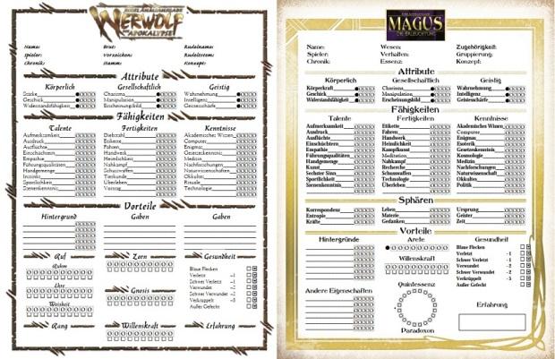 Charakterbögen W20, M20 auf Deutsch - Collage der ersten Seite des vierseitigen Bogen