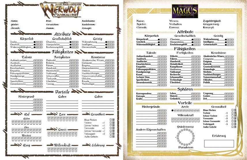 Deutsche Charakterbögen für Werwolf (W20) und Magus (M20) bei Mr.Gone!