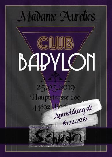 Club Babylon: Schwarz - LARP - Ankündigungsgraphik