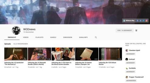 Screenshot des WODnews YouTube Kanal am 16.01.2019
