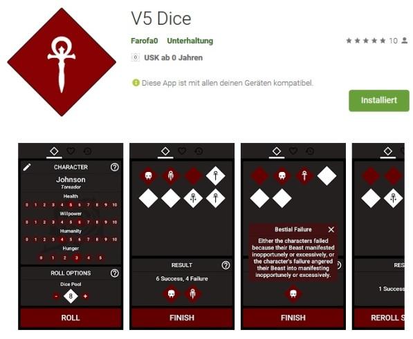 V5 Dice - Android Würfel Tool für die 5. Edition von Vampire: Die Maskerade