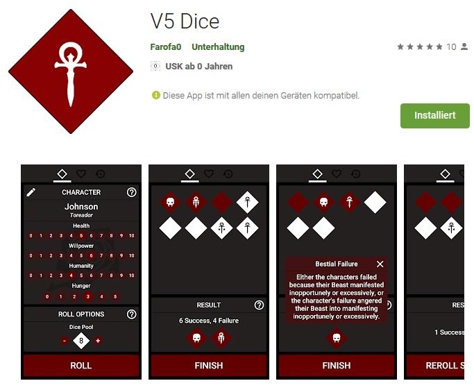 (Kostenlose) Fan-Made Würfel-App für dieV5!