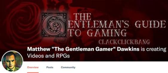 "Patreon - Matthew ""The Gentleman Gamer"" Dawkins - Screenshot"