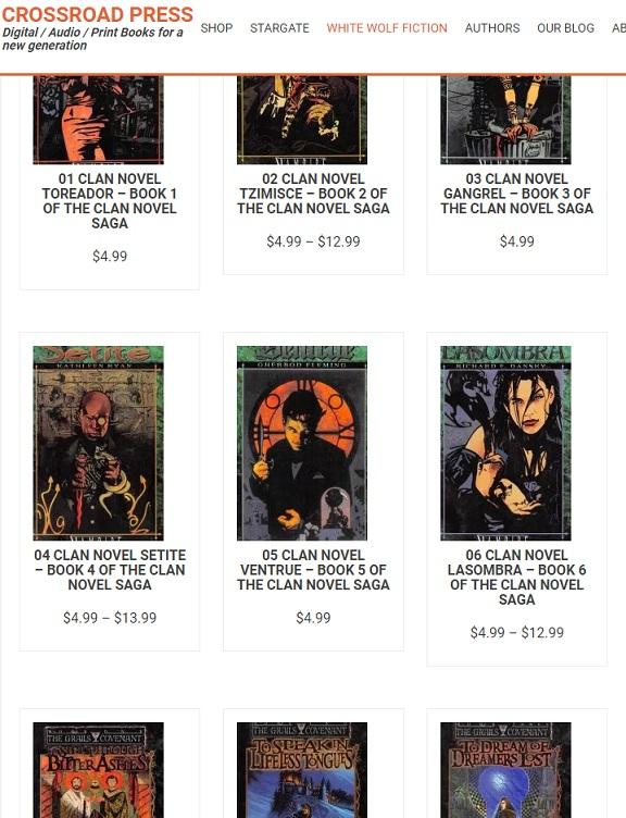 Englische V:tM Clan-Novels und Grails Covenant Triologie neuveröffentlicht!