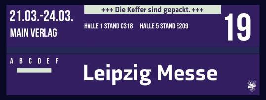 Facebook Post - MAIN Verlag - Standzeiten (Logo mit dem Messe Infos)