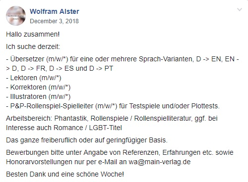 Facebook Post - Wolfram AlsterSuche nach Übersetzer*innen, Lektor*innen, Korrektor*innen, Illustrator*innen und Supporter*innen