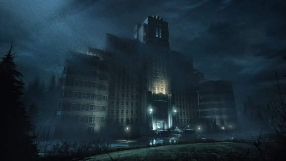 Vampire: The Masquerade Bloodlines2 - Riesiges Gebäude in Seattle bei Nacht und Regen