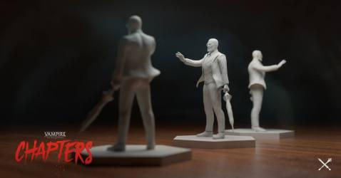 Vampire: The Masquerade - CHAPTERS - Miniatur eines Charakter mit Schirm