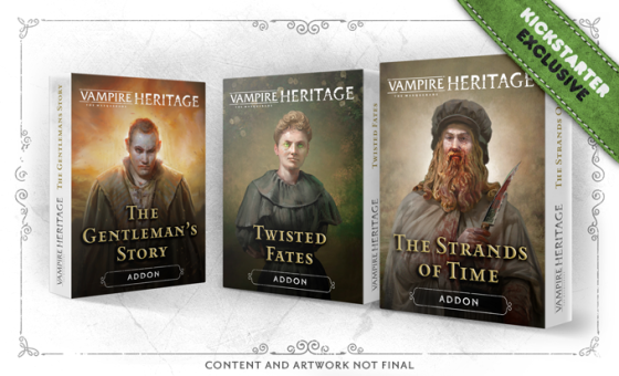 Vampire: The Masquerade Heritage - Graphik mit den Covern der 3 Addons (The Gentleman's Story, Twisted Fates, The Strands of Time)