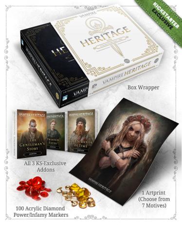 Vampire: The Masquerade Heritage - Graphik was in der Kickstarter Box zusätzlich drin ist