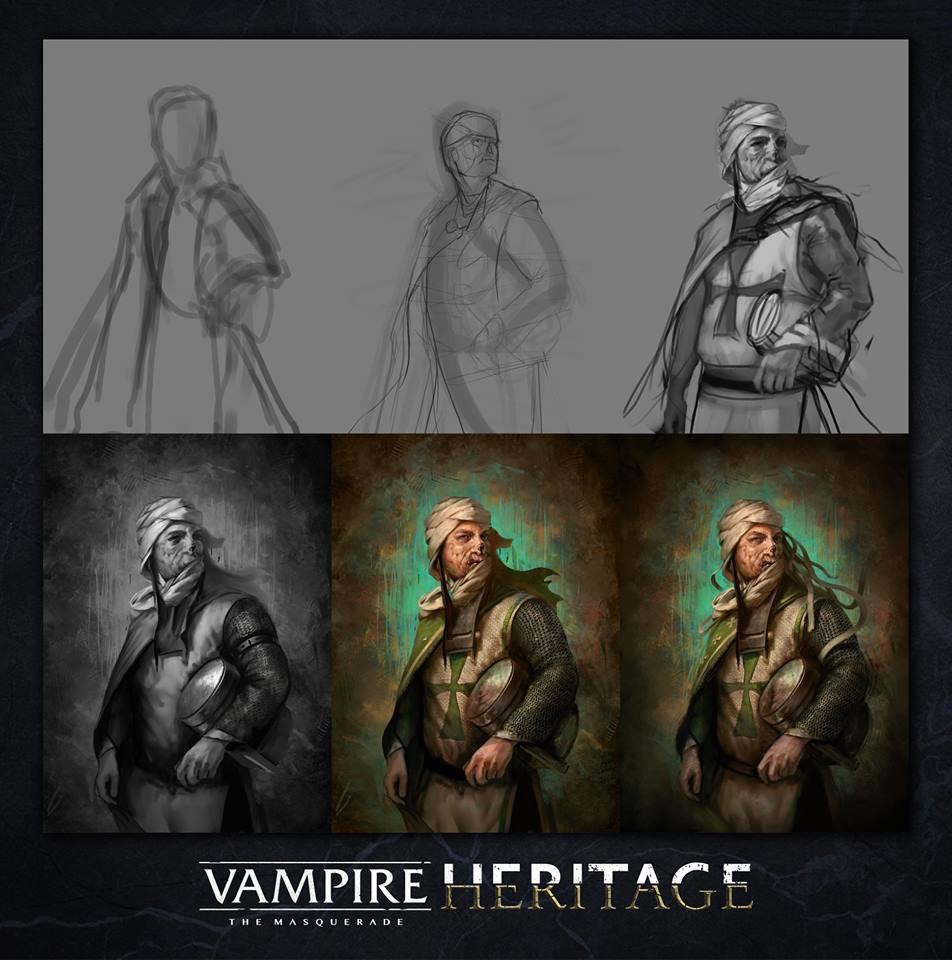 V:tM Heritage - Leper Knight von LukasSiegmon - Darstellung der Entwicklung der Zeichnung