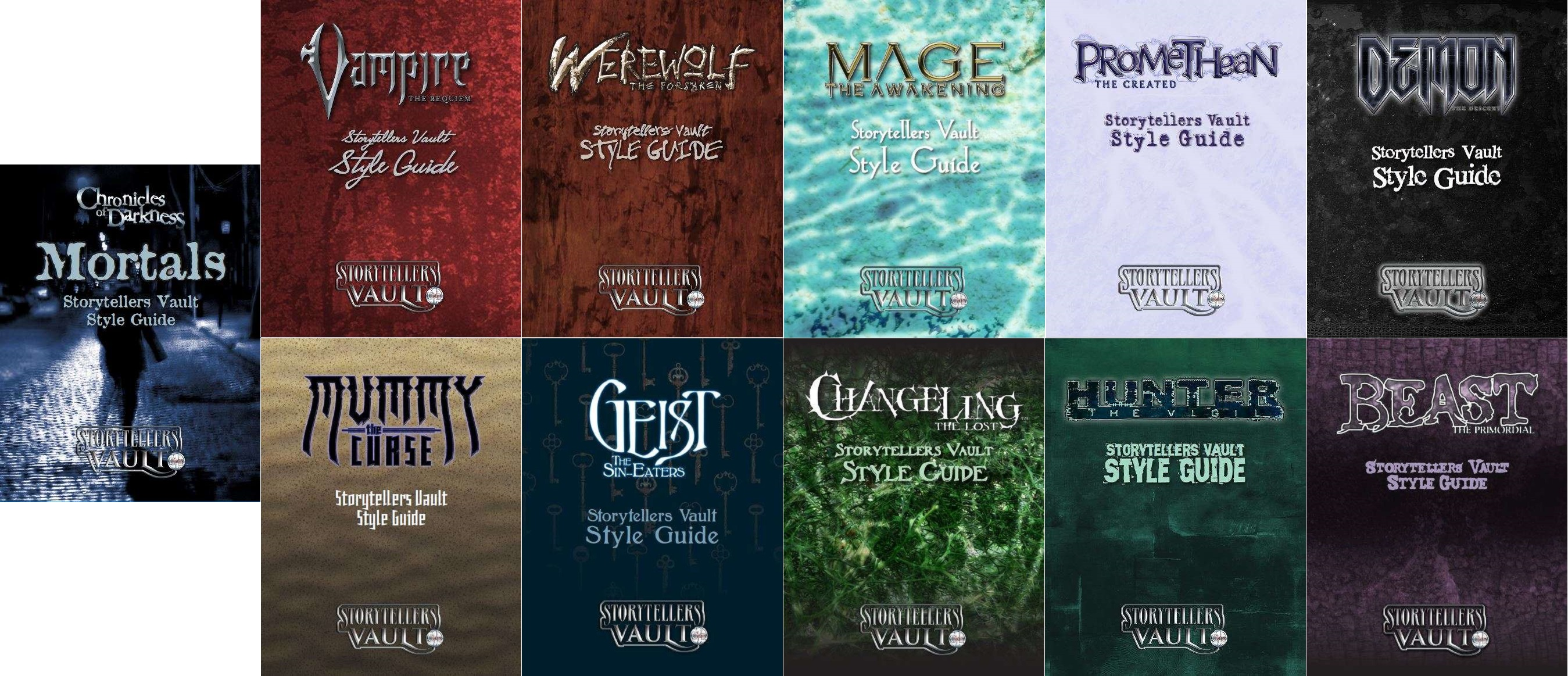 Storyteller Vault Chronicle of Darkness - Collage der CofD Style Guides