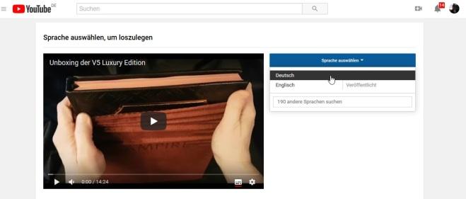 YouTube - Untertitel Erklärung 3.2 - Sprachauswahl