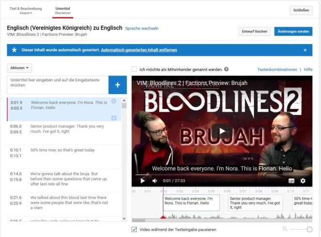 YouTube - Untertitel Erklärung 4 - Fangt damit an automatische Untertitel ins reine zu schreiben