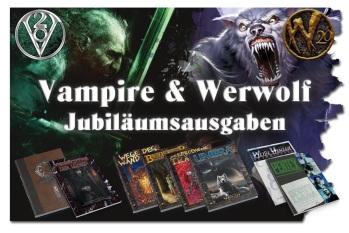 Vampire & Werwolf Jubiläumsausgaben - Crowdfunding von Ulisses Spiele - Mit Illustration der finanzierten Büchern