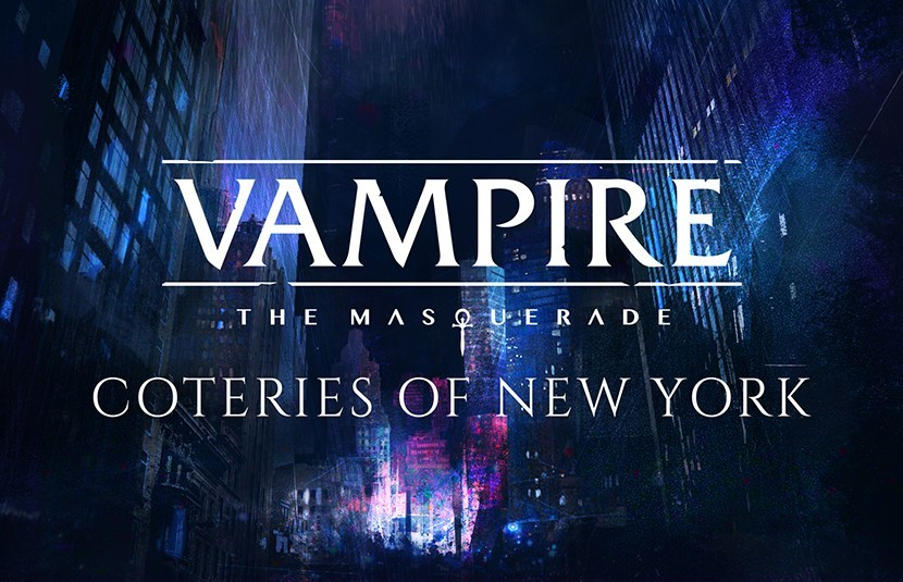 Vampire: The Masquerade - Coteries of New York [Schriftzug vor einer Stadt bei Nacht]