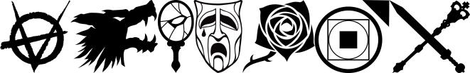 Banner Graphik der 7 V5 Clansymbole nebeneinander