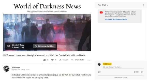 WODnews YouTube - Link zu dem Livestream am 03.08 ab 17:50 Uhr