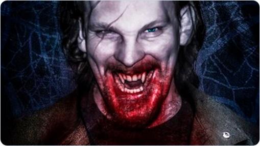 Vampire mit geflechten Fängen und Blut vor'm Mund - Artwork von Mark Kelly