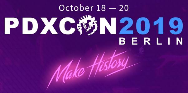 PDXcon 2019 Berlin - 18. bis 20. Oktober - Banner Graphik