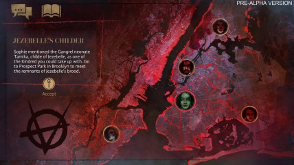 Vampire: The Masquerade - Coteries of New York - Pre-Alpha Szene: Landkarte mit einer Queste