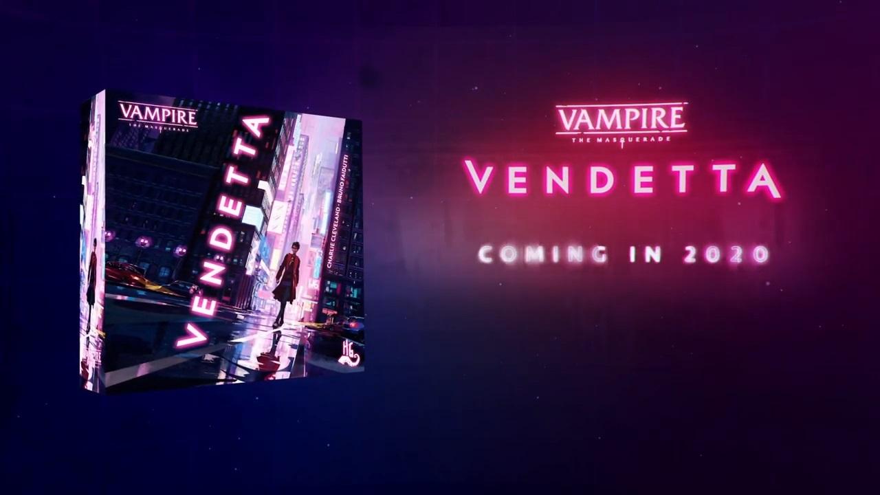 Vampire: The Masquerade Vendetta - Horrible Games - Vorschau Graphik mit Box-Mockup und 2020 als Release-Termin