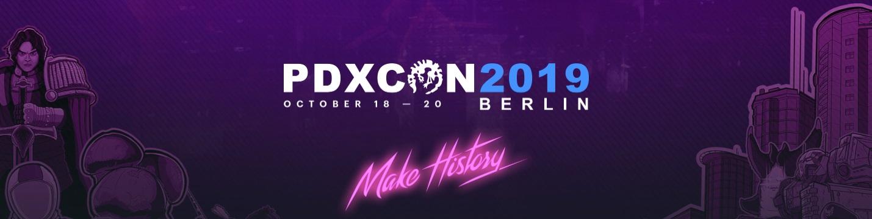 PDXcon 2019 - 18 bis 20 Oktober om Berlin - Make History - Screenshot Banner