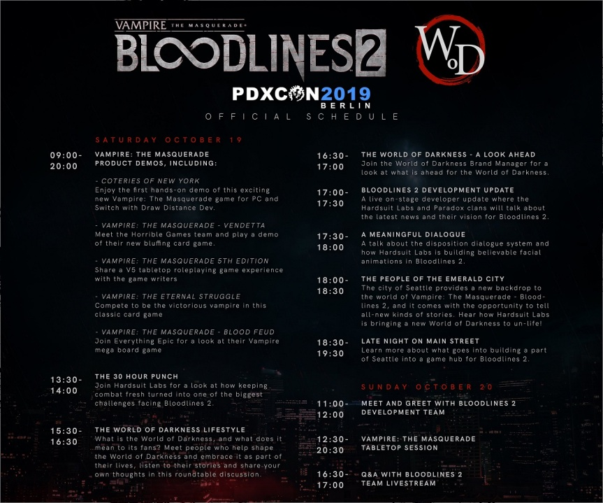PDXcon 2019 - World of Darkness & Bloodlines 2 Schedule - Offizielle Twitter Graphik