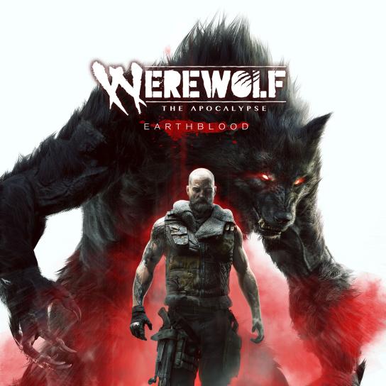 Werewolf: The Apocalypse Eartblood - Logo Graphik - Cahal als Mensch in Homid mit Militär Kleidung mit seiner Crinosgestalt im Hintergrund