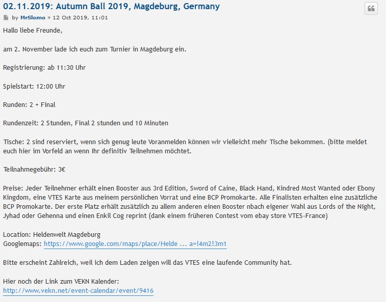 Autumn Ball 2019, VTES Turnier in Magdeburg