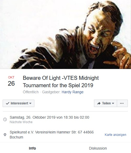 Beware Of Light - VTES Midnight Tournament for the SPIEL 2019