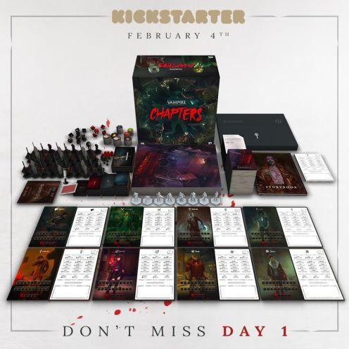Vampire: The Masquerade Chapters - Präsentation der Spielbox - Tiles, Karten, Miniaturen und andere Dinge