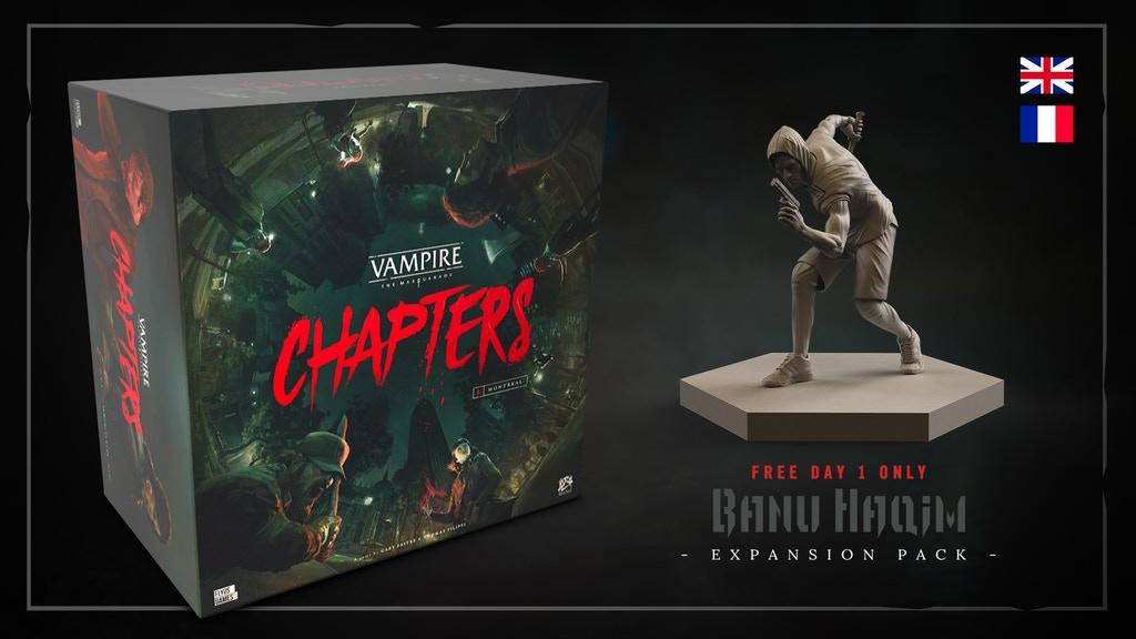"""Vampire: The Masquerade Chapters - Kickstarter Thumbnail mit Graphik der Banu-Haqim der Figur und dem Hinweis das """"Erster Tag Backer"""" das Erweiterungsset gratis drauf kriegen"""