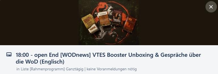 Main Würfel Convention - [WODnews] VTES Booster Unboxing & Gespräche über die WoD (in Englisch)