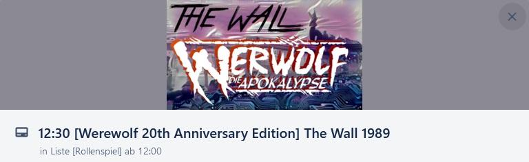 Main Würfel Convention - The Wall 1989 - Werewolf: Die Apokalypse Jubiläumsausgabe